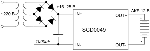 Схема включения контроллера заряда SCD0049